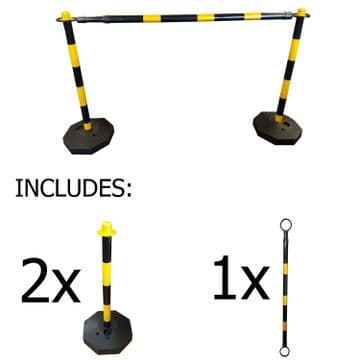 PLASTIC SAFETY BARRIER SECURITY FENCE + POSTS + TELESCOPIC POLES x 2 metres
